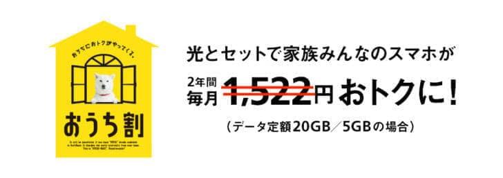 ソフトバンク おうち割 光セット割引額5GB,20GBは減額!